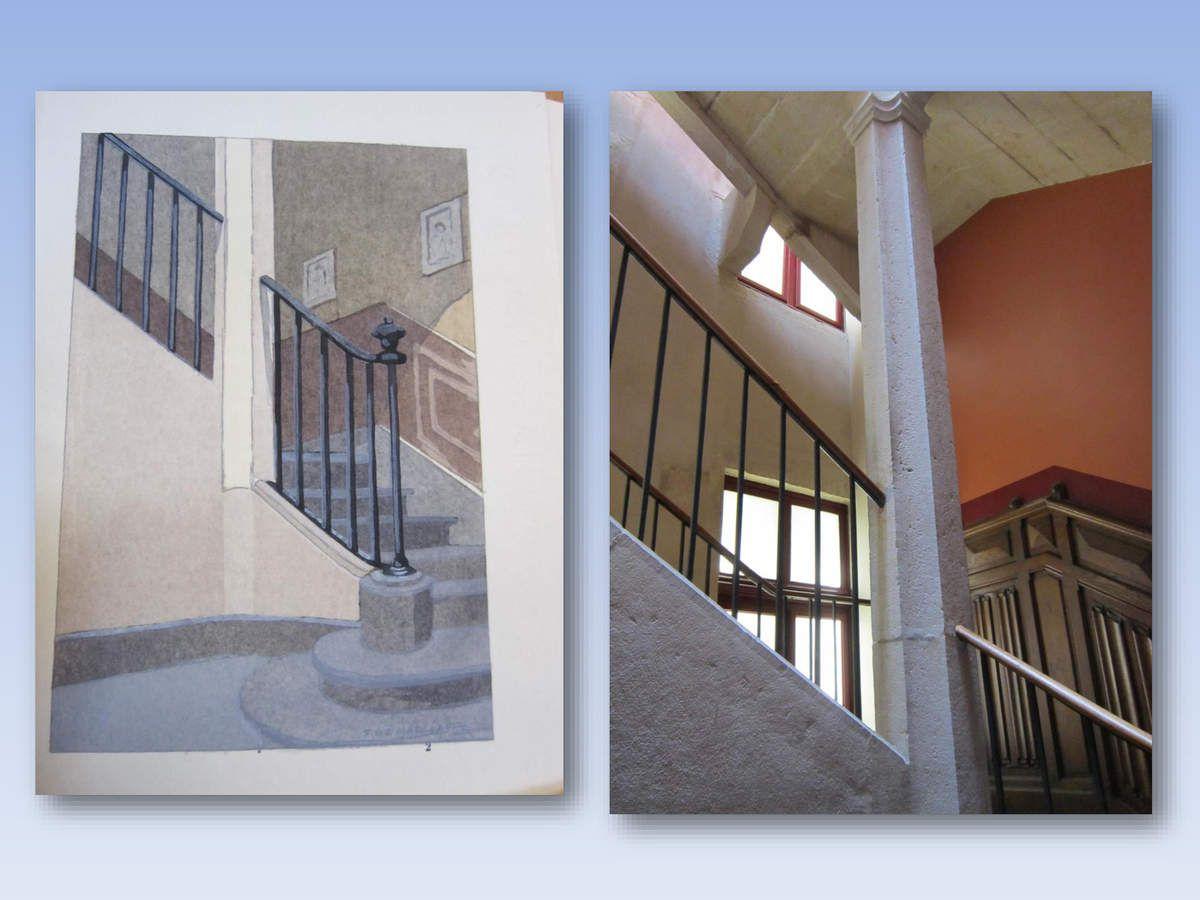 d'où s'élève un très bel escalier qui conduit aux étages. Quand on compare à l'aquarelle, pas grand-chose n'a changé  en fait.
