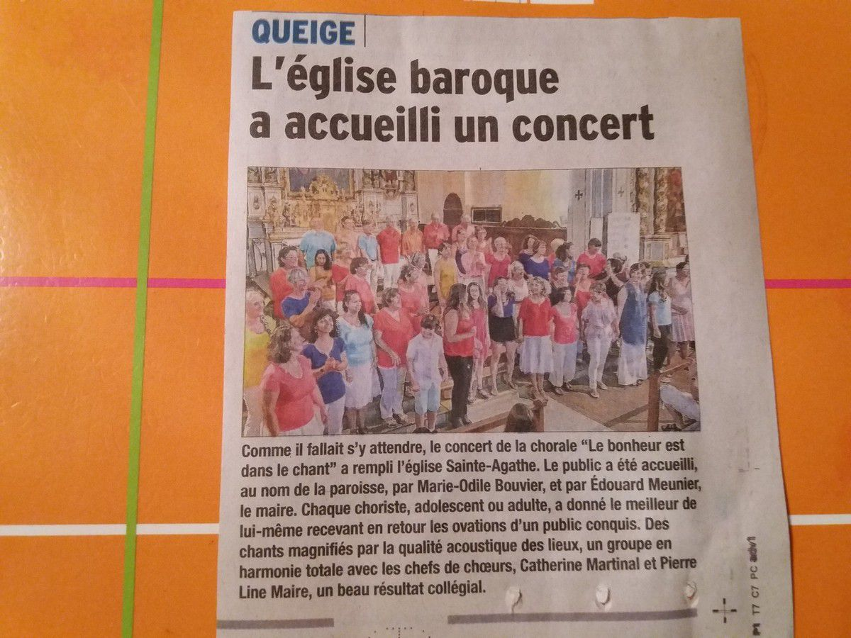 25 juin 2017 - Concert de Queige - L'article du Dauphiné