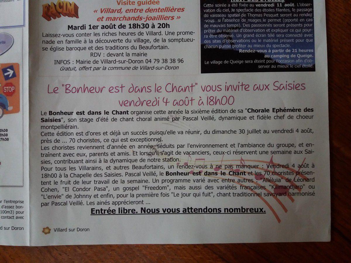 30 juillet 2017 - Que de Nueve et Dauphiné - Annonce du Concert de la Chorale Ephémère des Saisies
