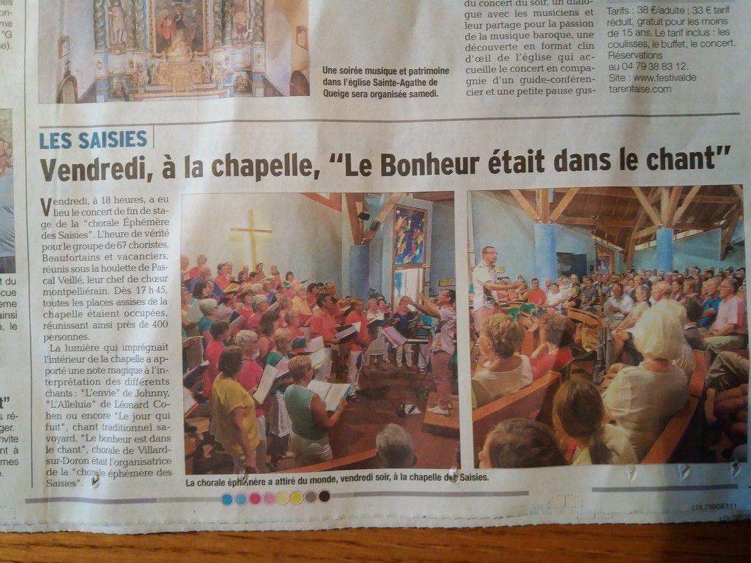 4 août 2017 - Le Dauphiné et la Savoie rendent compte du Concert de la Chorale Éphémère des Saisies
