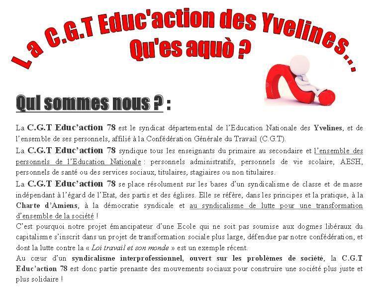 Pourquoi se syndiquer ? Qu'est-ce que la C.G.T Educ'action des Yvelines ?