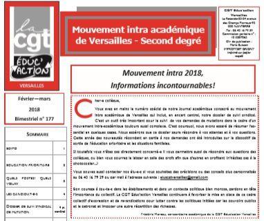 Calendrier Mouvement Intra Academique 2020.Mouvement Intra Academique Versailles Cgt Educ Action Des