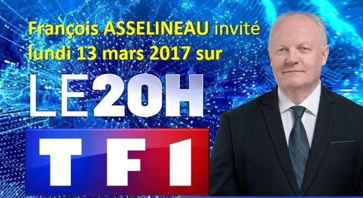 FRANÇOIS ASSELINEAU INVITÉ DU JOURNAL DE 20H00 SUR TF1  LE LUNDI 13 MARS 2017.