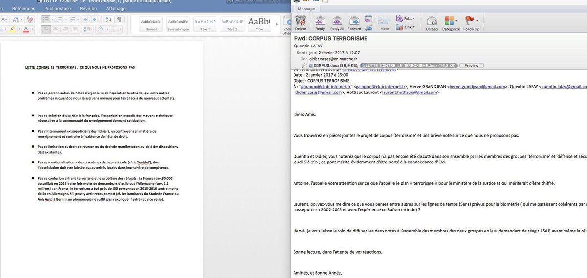 Dans une note d'un responsable En Marche, la liste de ce que Macron ne propose PAS contre le terrorisme. (02/01/17)