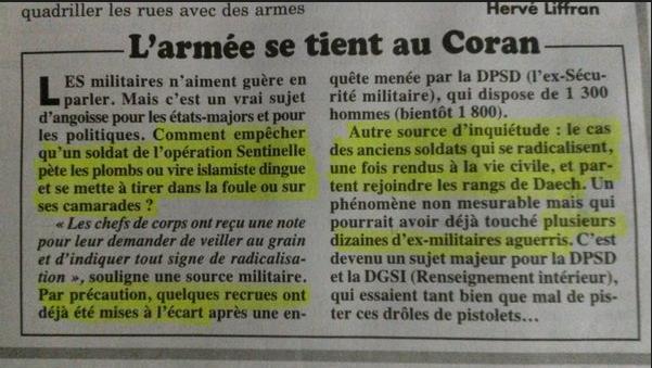 """Armée : radicalisation """" Comment empêcher qu'un soldat de l opération sentinelle pète un plombs ou vire islamiste dingue et se mette à tirer dans la foule """""""