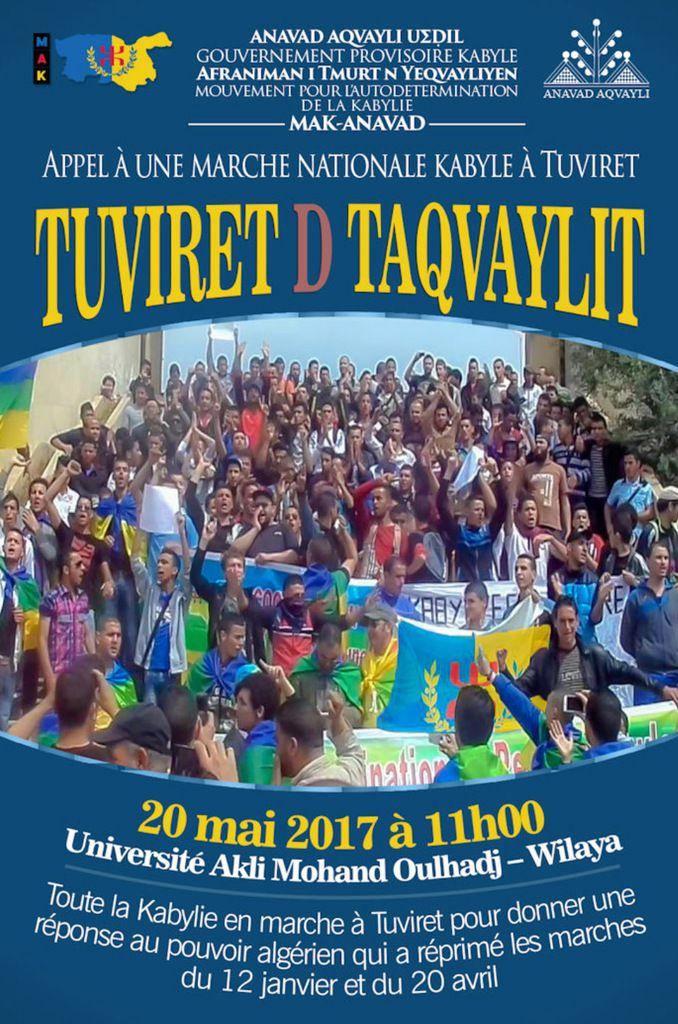 � Appel des Coordinations régionales du MAK-ANAVAD à la marche Nationale Kabyle  de Tuviret. KDirect - Actualité