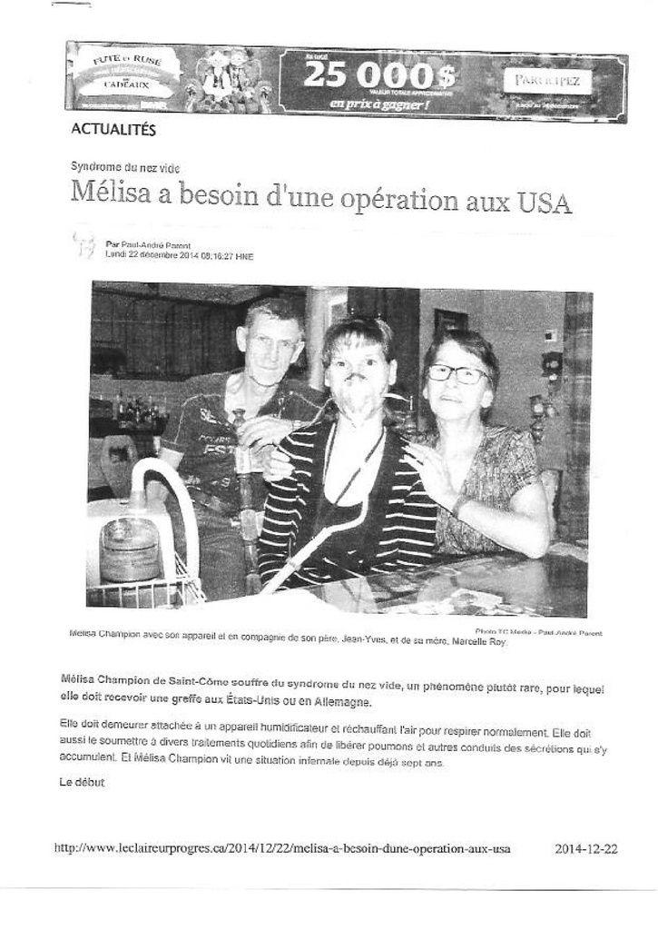 A la mémoire de Mélisa Champion, décédée du SNV