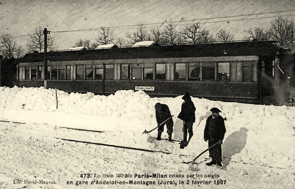 """CP lignes anciennes """"Le 503 bis Paris - Milan"""""""