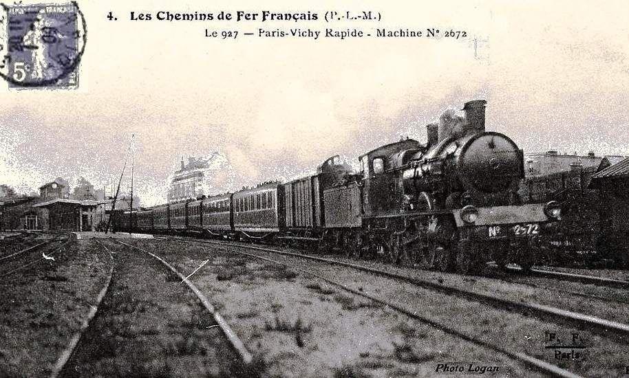 """CP lignes anciennes """"Le 927 Paris Vichy"""""""