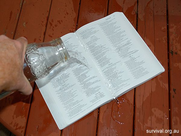 Photo: Waterproof Bible being tested (survival.org.au)