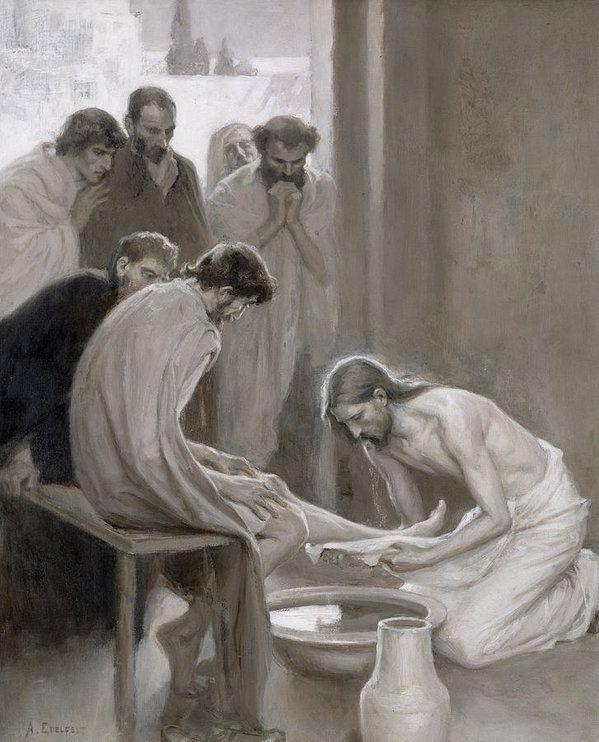 Cet apostat soutient que Jésus, lors de la dernière Cène, était «séduisant» et effectuait un «strip-tease littéraire» en lavant les pieds des disciples. (oeuvre par Albert Gustaf Aristides Edelfelt)