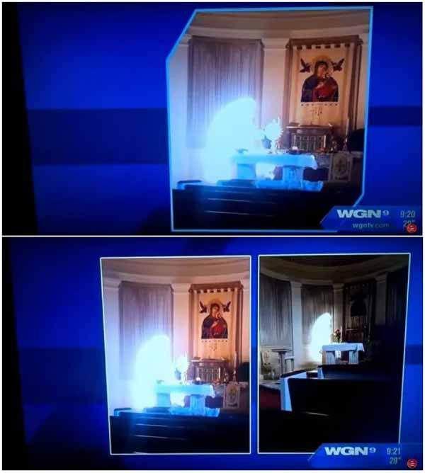 Apparition angélique, démoniaque, ou simple effet de lumière ? (photo : WGN-TV)