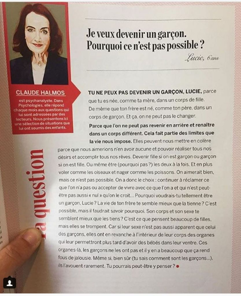 "L'article de ""Psychologies magazine"" à l'origine du conflit (photo : DR)"