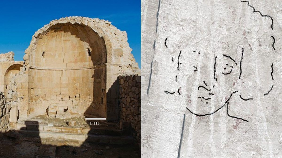 Cette peinture censée représenter Christ a plus de 1500 ans et a été découverte dans le Neguev. (photo : Dror Maayan / Cambridge.org)