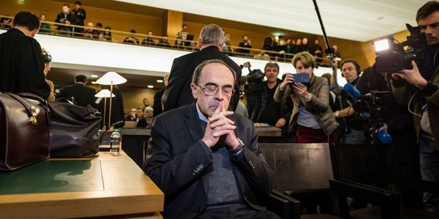 Le cardinal Philippe Barbarin lors de son procès cette semaine. (Photo : Sipa)