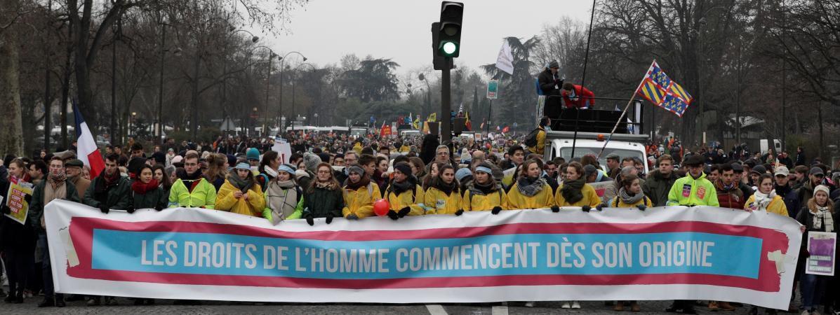 Des manifestants contre l'IVG, le 20 janvier 2019 à Paris. ( Photo : GEOFFROY VAN DER HASSELT / AFP)