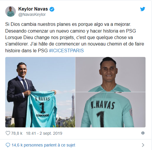 (photo : capture d'écran Twitter/Keylor Navas)