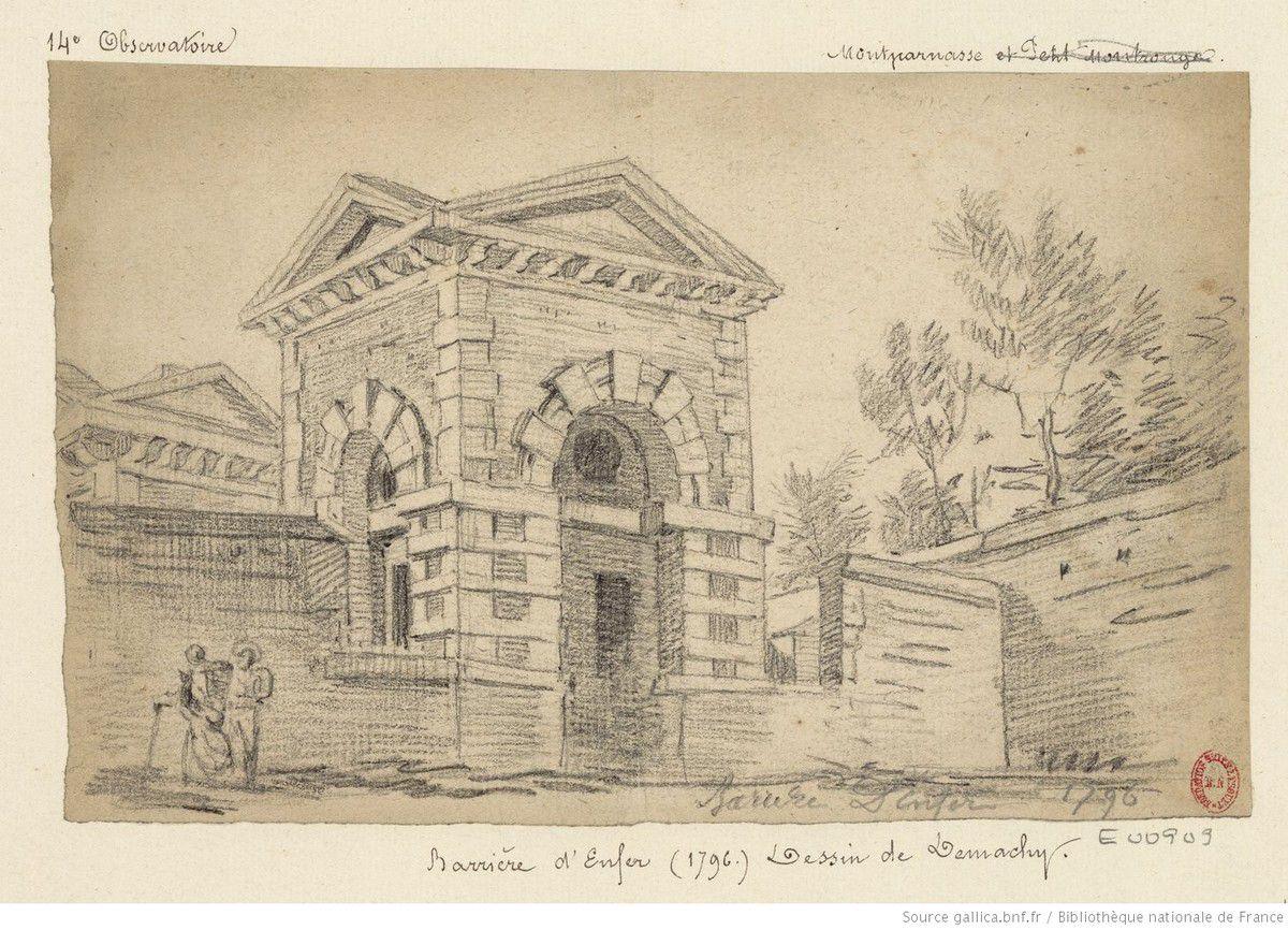Barrière d'Enfer (1796) Dessin de  Pierre-Antoine Demachy (1723-1807) - Dessinateur de l'oeuvre reproduite - Source gallica.bnf.fr / Bibliothèque nationale de France.