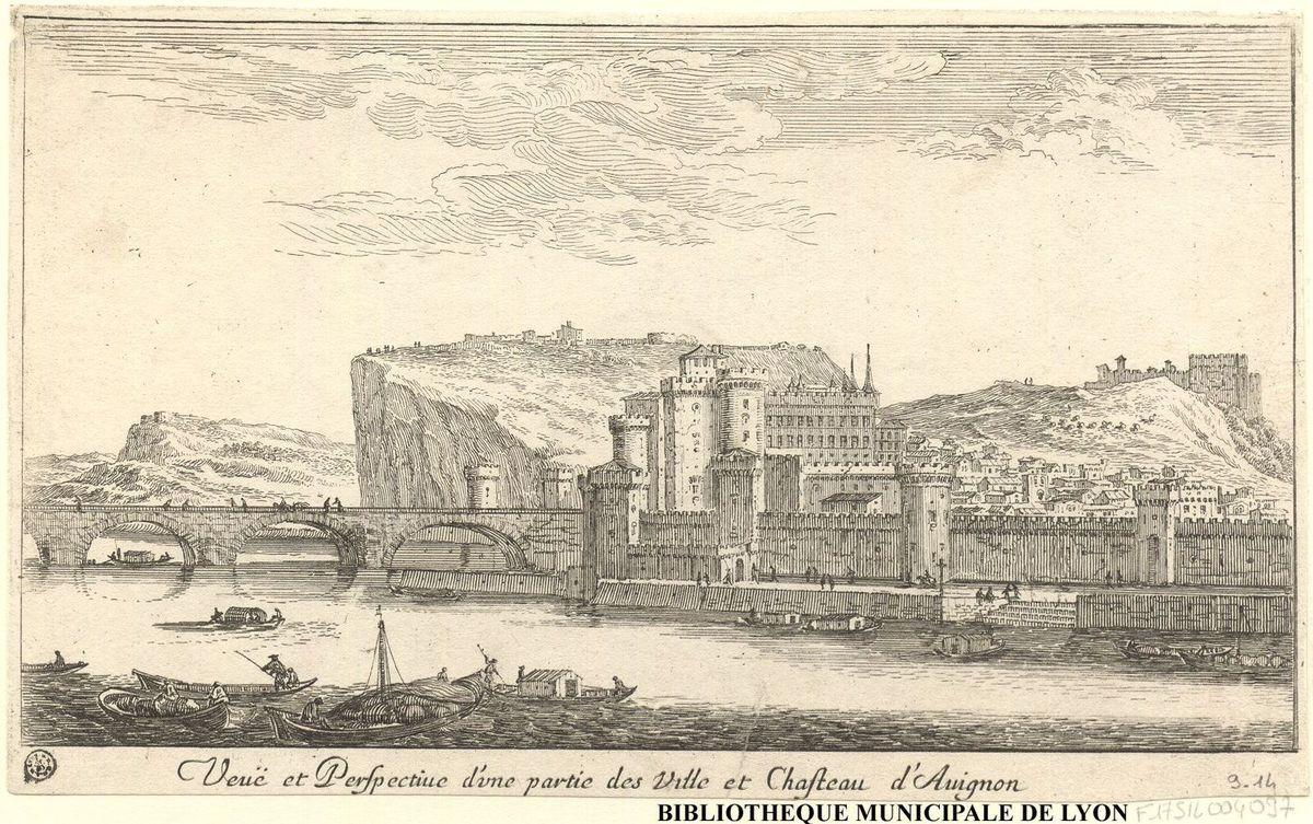 Veuë et perspective d'une partie des ville et chasteau d'Avignon – Israël Silvestre (1621 – 1691) –  Bibliothèque municipale de Lyon (F17SIL004097)