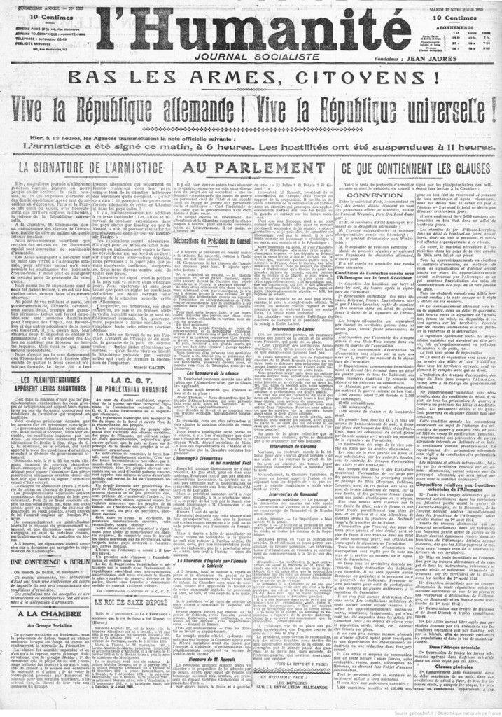 L'Humanité : journal socialiste quotidien : mardi 12 novembre 1918 - Source : gallica.bnf.fr / Bibliothèque nationale de France