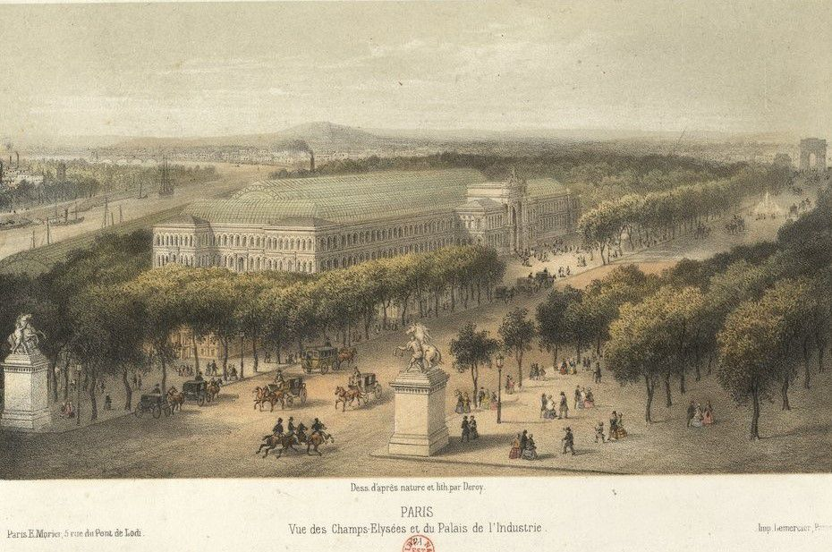 Paris Vue des Champs-Élysées et du Palais de l'Industrie, Deroy peintre, Éditeur : Paris E. Morier, 5 rue du Pont de Lodi, estampe, source : Gallica / Bibliothèque nationale de France