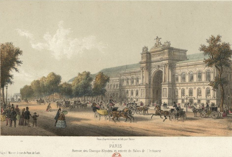 Paris Avenue des Champs-Élysées et entrée du Palais de l'Industrie, Deroy peintre, Éditeur : Paris E. Morier, 5 rue du Pont de Lodi, estampe, source : Gallica / Bibliothèque nationale de France