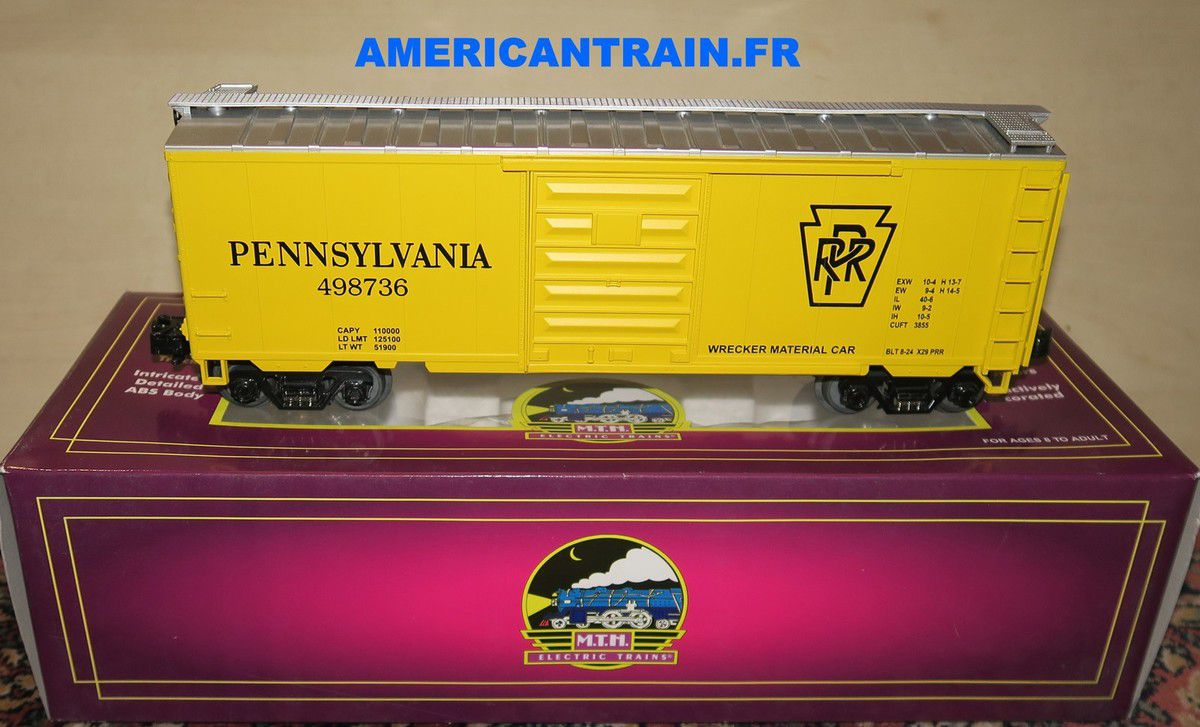 Wagon 40' Single Door Box Car Pennsylvania 3 rails échelle O MTH