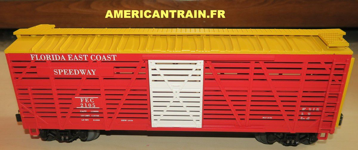 Wagon Steel Sided Stock Car F.E.C. 3 rails échelle O MTH