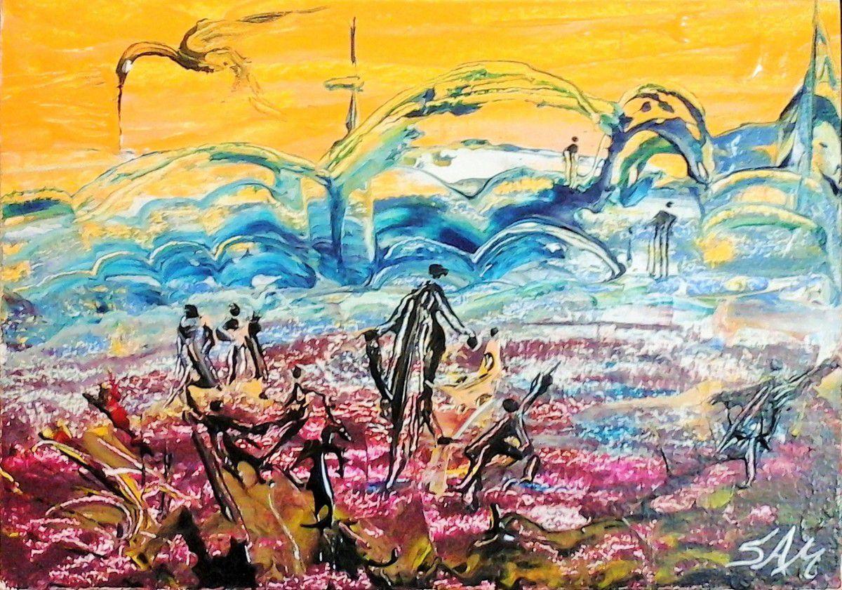 """""""  Dans une autre dimension """"  """"  Le pont bleu, au bord de l' au-delà """"  peinture acrylique, sur bois, réalisée au couteau.28,5 cm x 20 cm."""