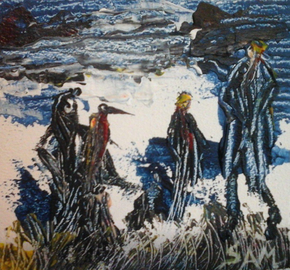 """"""" NOTRE AMI LE GÉANT """" Peinture acrylique sur bois, réalisée au couteau.miniature . 11 cm x 10 cm."""