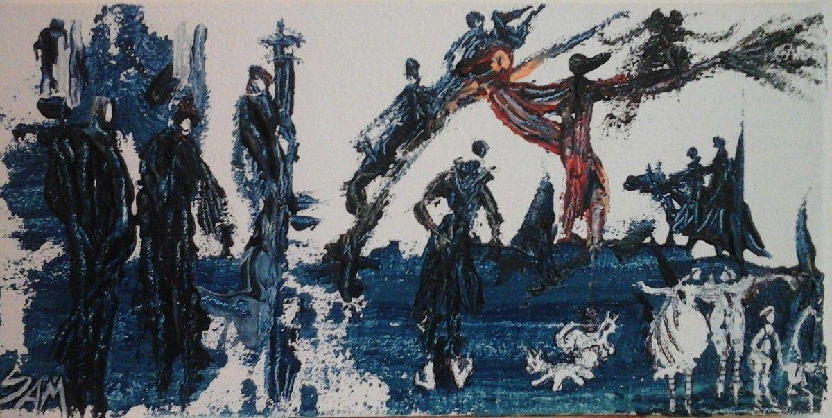 """"""" AU BAL D' HALLOWEEN """" DANSER  DANS LES PRES AU MILIEU DES ESPRITS """" Peinture acrylique  sur bois, réalisée au couteau. 20 cm x 10 cm."""