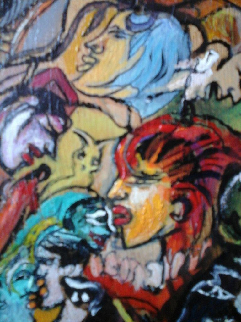 """Dans la série: MULTIPLES FACETTES  -  UN DES PUZZLES DE MON IMAGINAIRE N° 5  """" FACE CONTRE FACE """" Peinture gouache sur bois.  37 cm x 24 cm."""