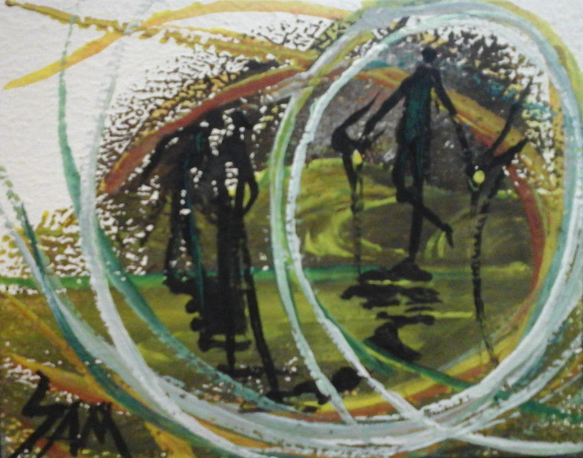 """""""  LES OMBRES  DANS  LES  MÉANDRES  """"   Peinture gouache sur bois.  10 cm x 8 cm."""