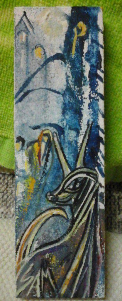 """""""  PETITE  LICORNE  BLEUE """"  Peinture gouache sur bois.  16 cm x 5 cm."""