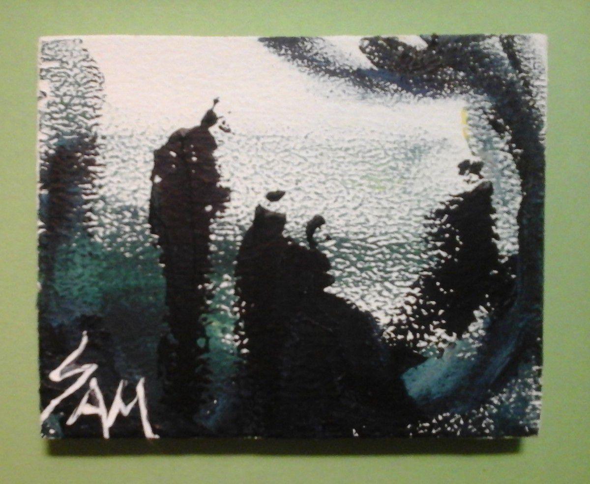 """""""  SECRETS AU CLAIR DE LUNE """"  Peinture gouache sur bois.  10 cm x 8 cm."""