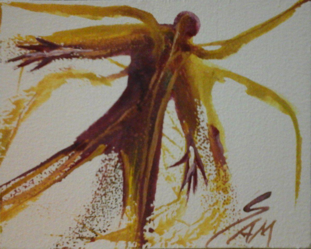 """""""  L' HOMME QUI VOULAIT VOLER """"  Peinture gouache sur bois.  10,5 cm x 8,5 cm."""