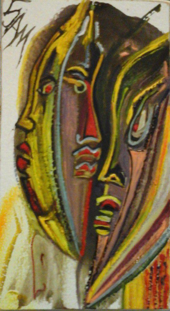 """""""  LES VISAGES DANS LA BULLE """" Peinture gouache sur bois.  14 cm x 8 cm."""