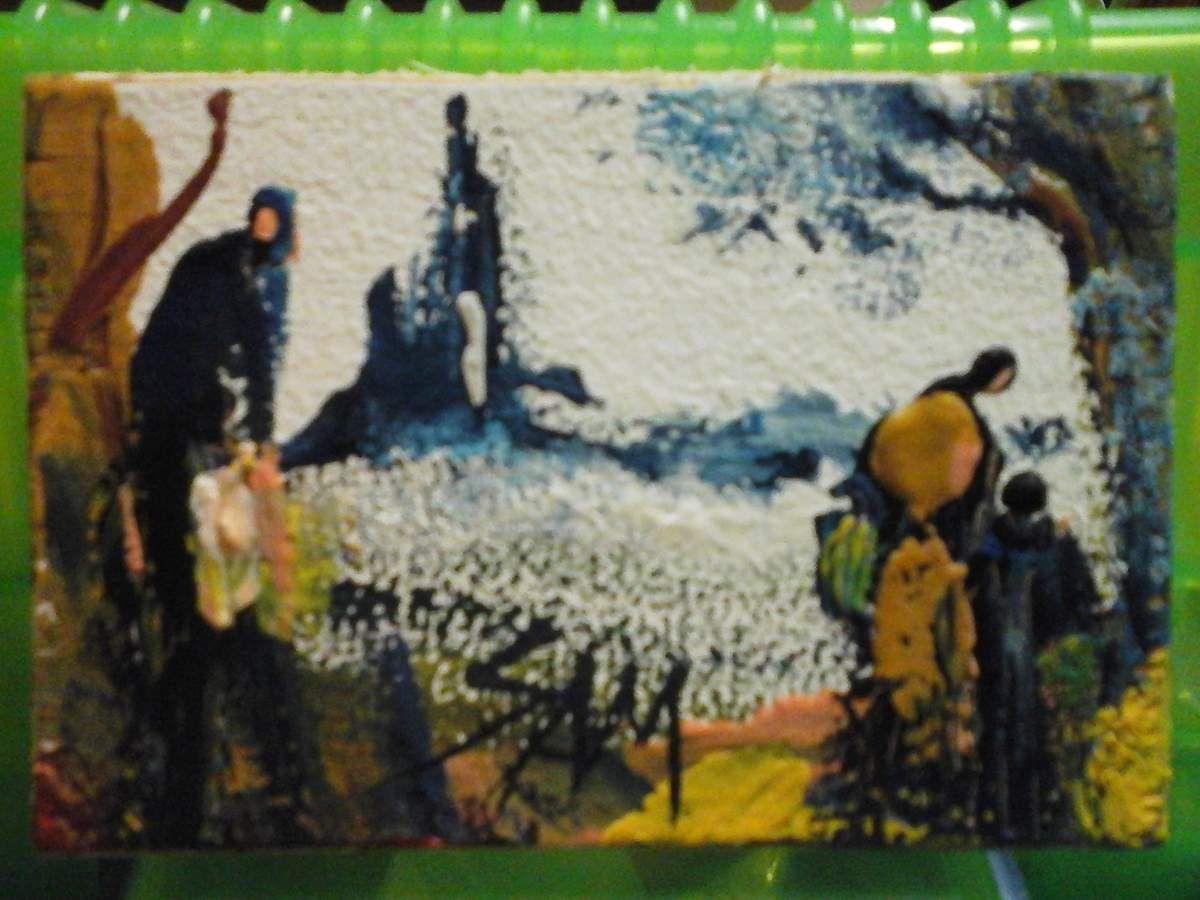 """""""  AVEC MA PETITE GRAND - MERE """"  Peinture gouache sur bois.  8 cm x 5,5 cm."""