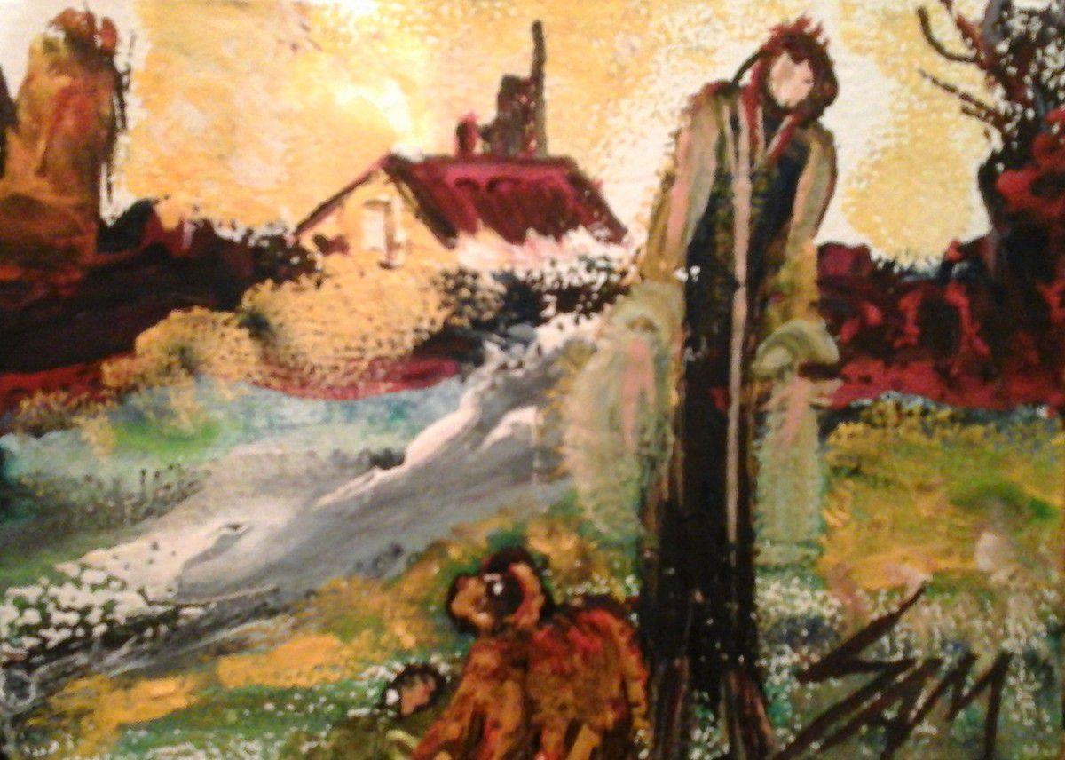 """""""  QUAND LUCIE REVIENT  DE VOYAGE AVEC LUCKY """"  Peinture gouache sur bois.  11 cm x 8 cm."""