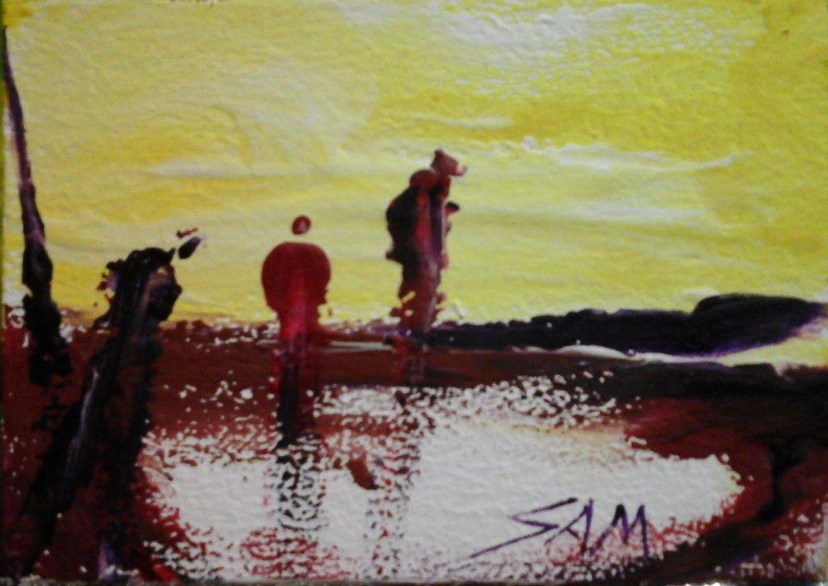 """""""  QUAND LA LUMIERE PERCE """"  Peinture gouache sur bois.   11 cm x 8 cm"""