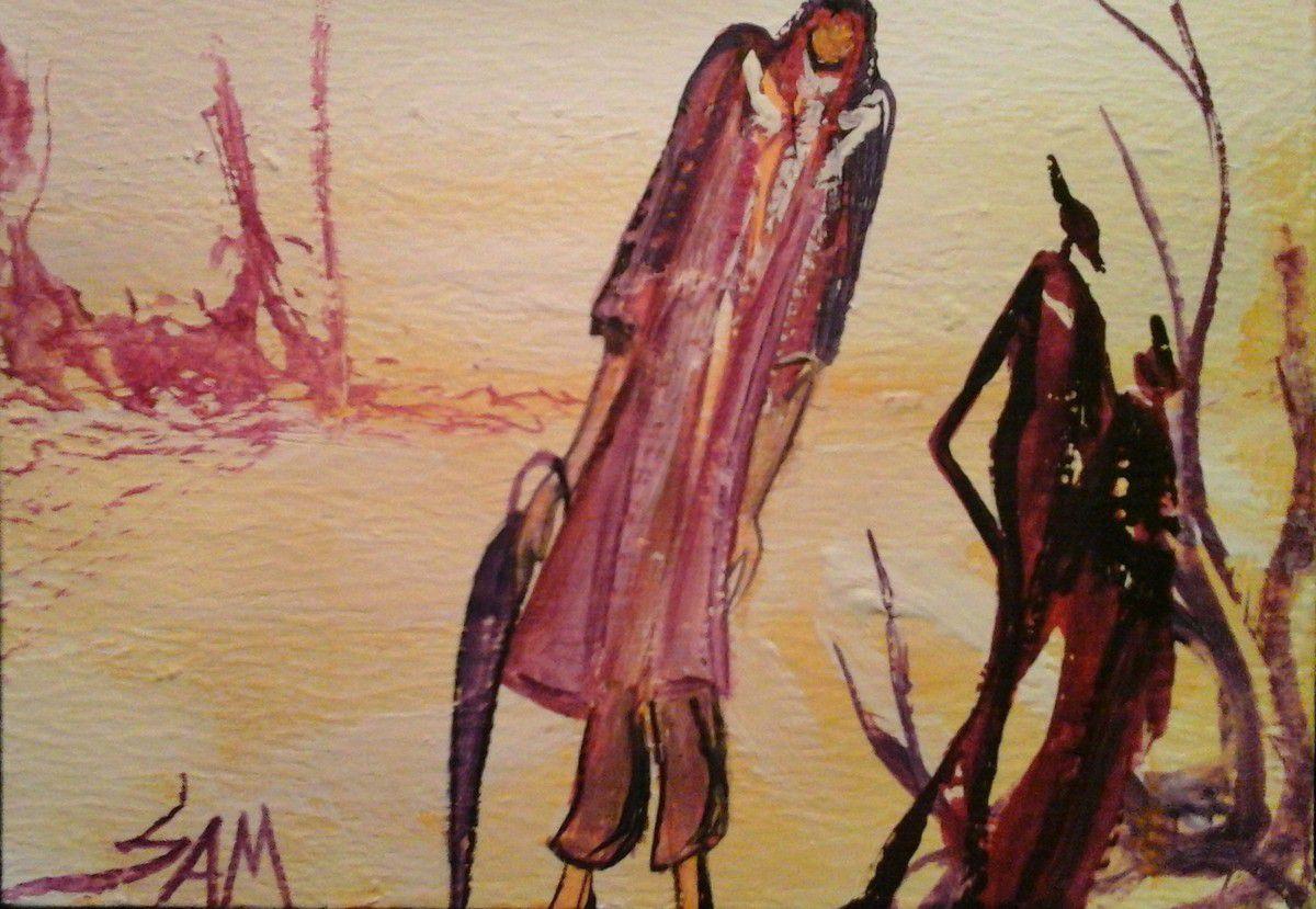"""""""  LA FEMME AU PARAPLUIE """"  Peinture gouache sur bois.  15,5 cm x 11 cm"""