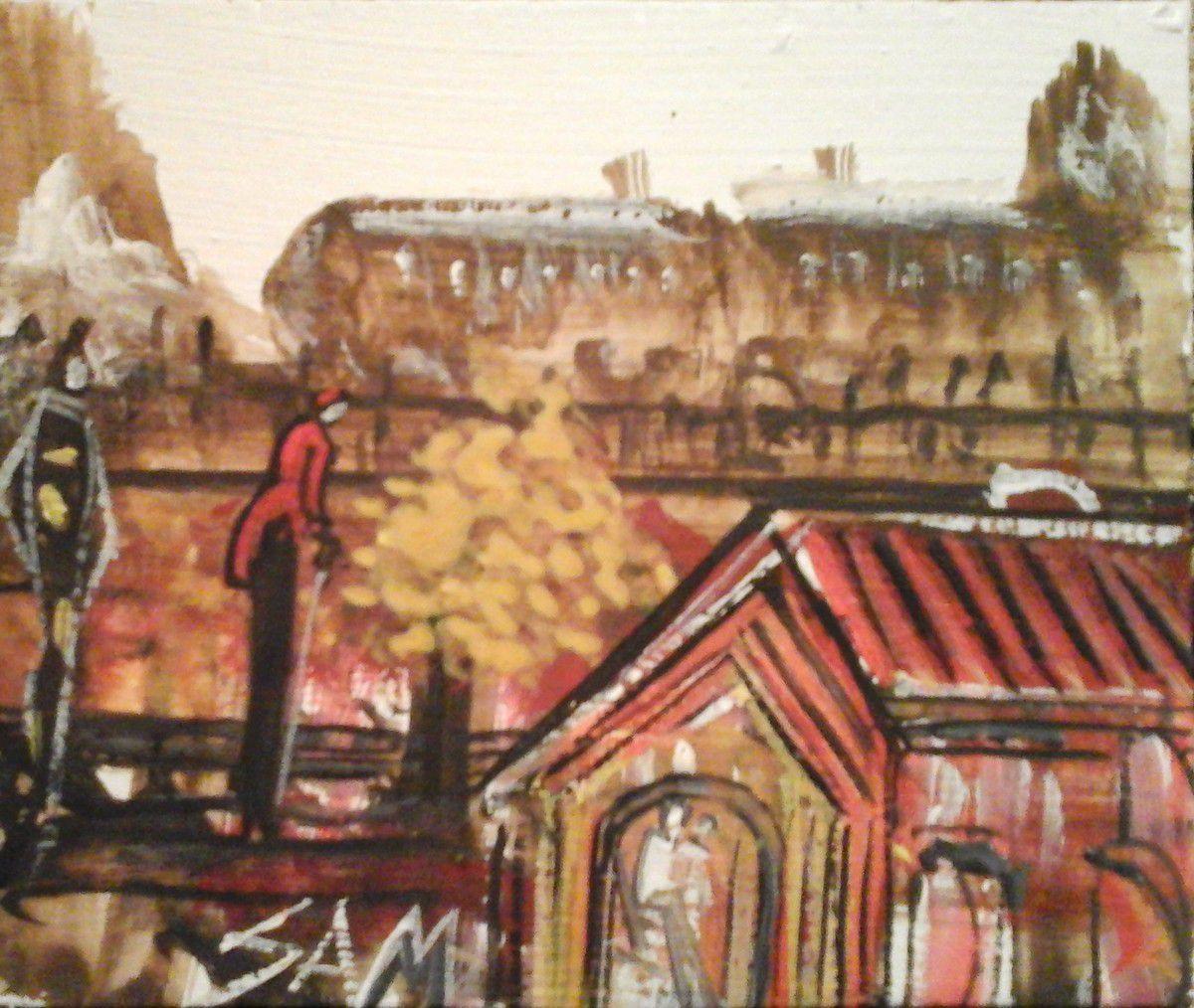 """""""  LA GARE DE TRIAGE """" Peinture gouache sur bois.  10,5 cm x 9 cm"""