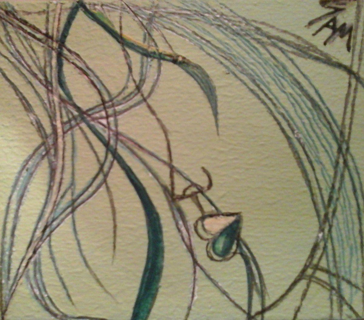 """""""  VERDY """"  Peinture gouache sur bois.  10 cm x 8,5 cm"""