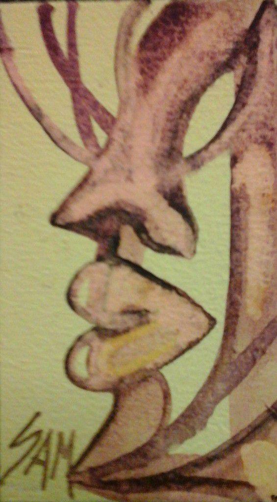 """""""  L ' ARBRE  PERCE """"  Peinture gouache sur bois .10 cm x 6 cm"""