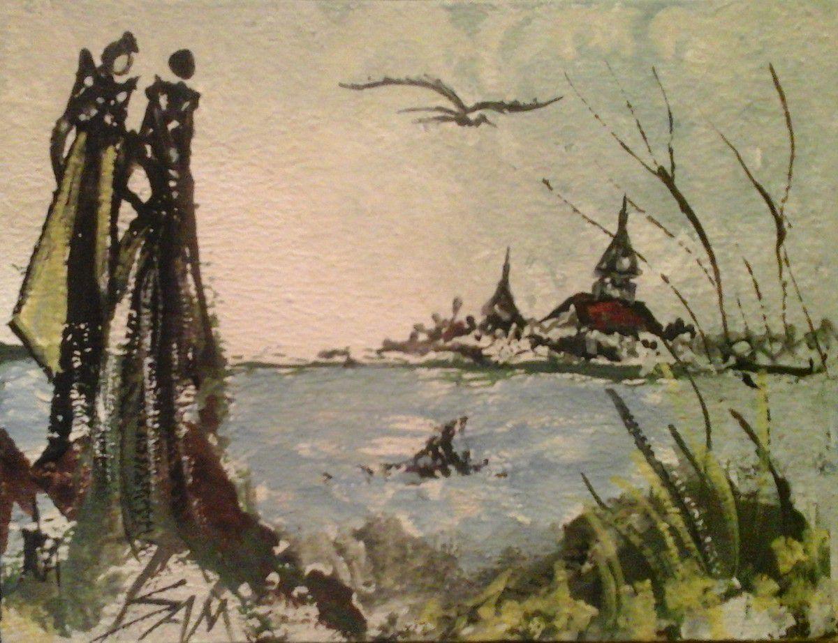 """""""  REGARD SUR L'ÉTANG BLEU  """"  Peinture gouache sur bois.  13 cm x 10 cm"""