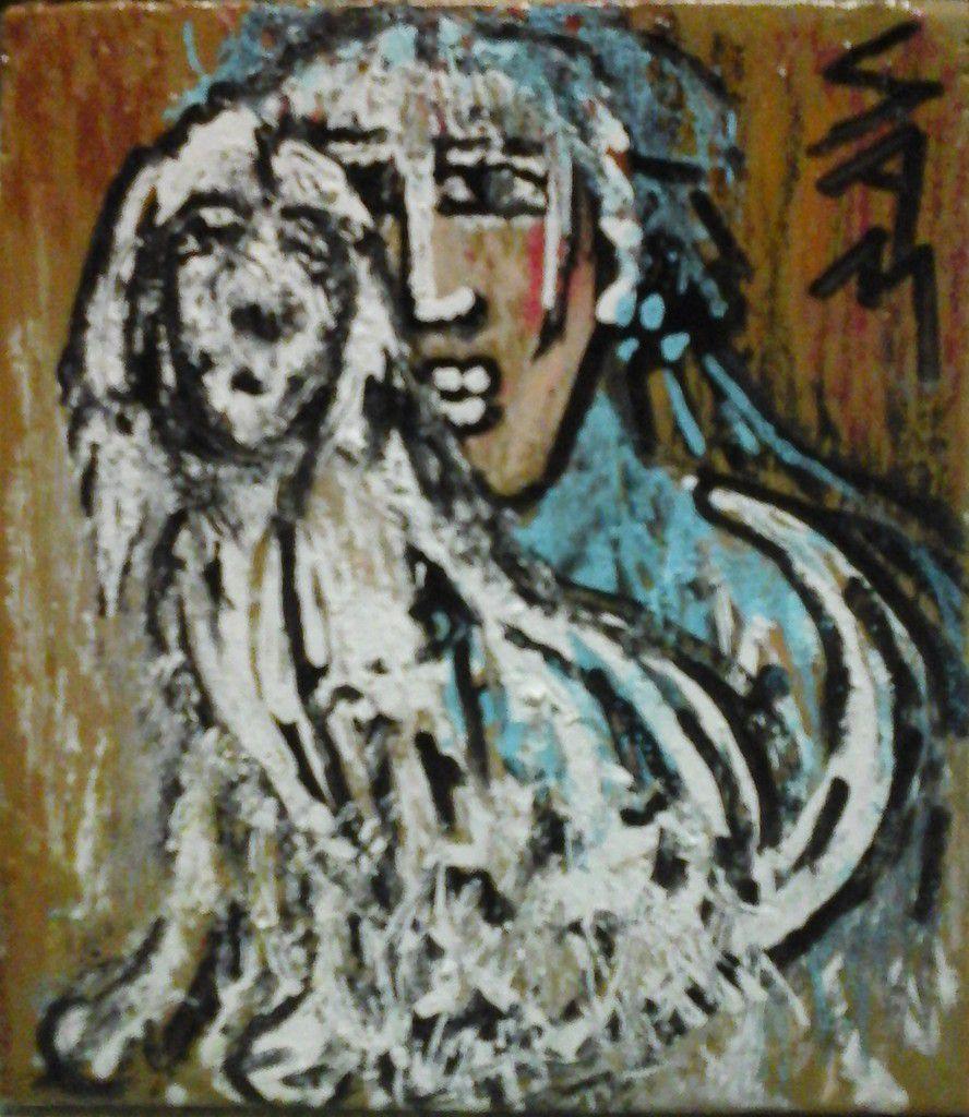 """""""  HERMIONE ET SON CHIEN PHEBUS """"  Peinture  gouache  sur bois.  8 cm x 7 cm"""
