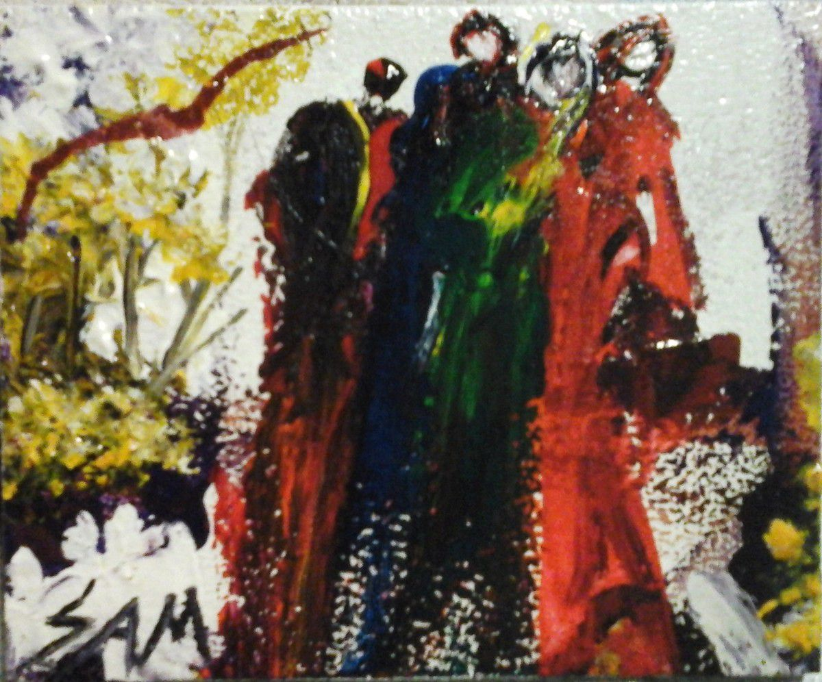 """""""  DRAPÉE EN ROBE ROUGE  """"  Peinture gouache sur bois.  10 cm x 8 cm"""