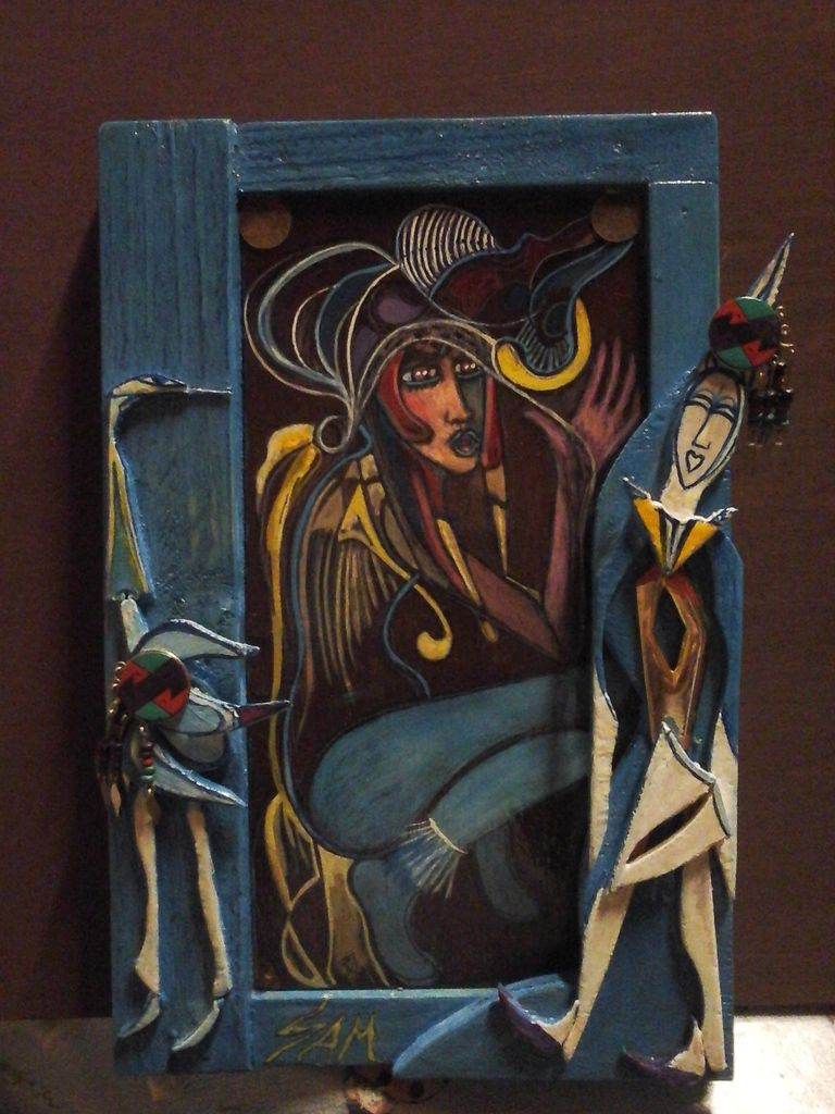 """"""" MARIONETTES OF CARNIVAL """"  Sculpture wood and metal ,painting gouache on  wood   """"  PANTIN DE CARNAVAL  """"  Sculpture,bois et metal ,peinture gouache sur bois ."""