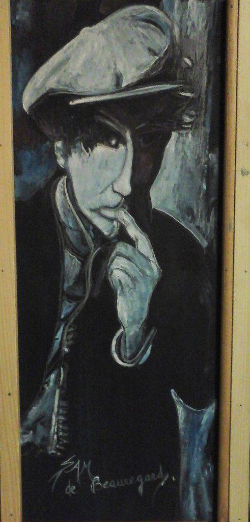 """""""  YOU  """" """"  BRYAN FERRY """" Portrait painting gouache on wood 50,5 cm x 27 cm. Portrait ,peinture gouache sur bois.  50,5 cm x 27 cm --"""