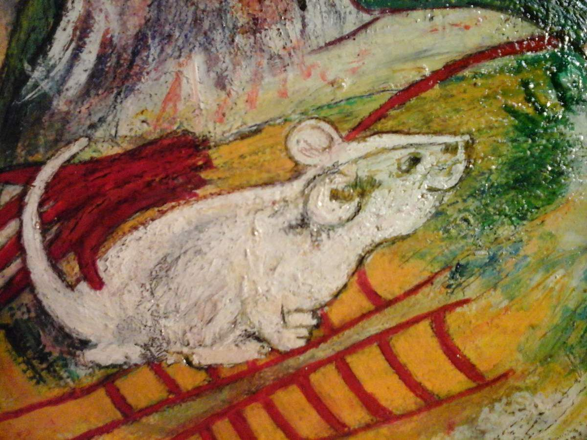 STREET OF THE FALL --   RUE DE LA CHUTE  -- MEETING WITH RAT- GIRL THE RAT TRAINER.   RENCONTRE AVEC RAT-GIRL  LA DRESSEUSE DE RAT.  Sam de Beauregard .  (   Annie Lydie Frouard  )
